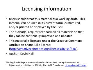 Licensing information