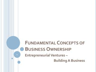Fundamental Concepts of Business Ownership