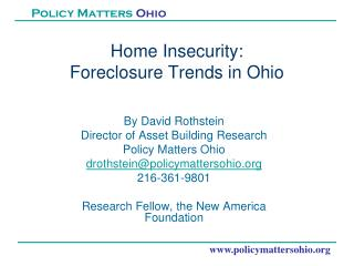 Home Insecurity:  Foreclosure Trends in Ohio