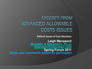 Excerpt from  Advanced Allowable  Costs Issues