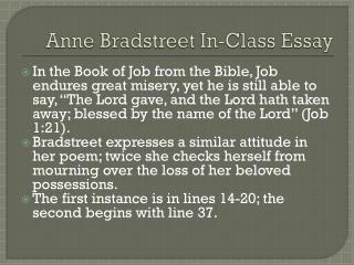 Anne Bradstreet In-Class Essay