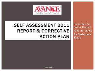 Self Assessment 2011 Report & Corrective Action Plan