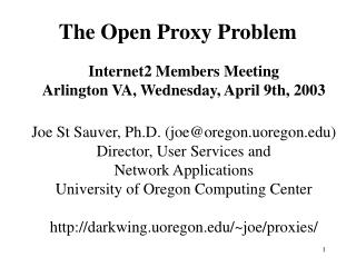 The Open Proxy Problem