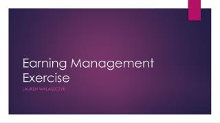 Earning Management Exercise
