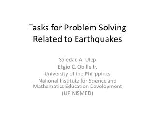 Tasks for Problem Solving Related to Earthquakes