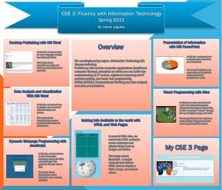 CSE 3: Fluency with Information Technology Spring 2013 By:  Lianne Laguitan