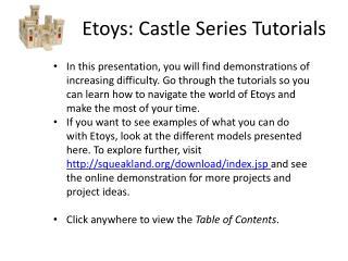 Etoys: Castle Series Tutorials