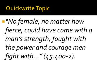 Quickwrite  Topic