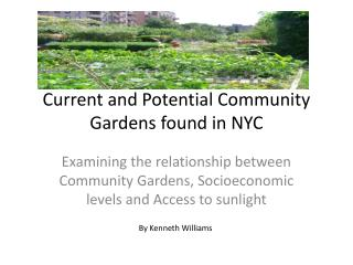 Current and Potential Community Gardens found in NYC