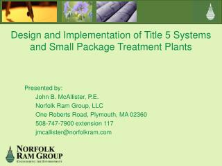 Design and Implementation of Title 5 Systems and Small Package Treatment Plants