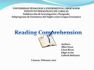 UNIVERSIDAD PEDAGÓGICA EXPERIMENTAL LIBERTADOR INSTITUTO PEDAGÓGICO DE CARACAS