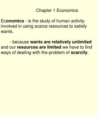 Chapter 1 Economics