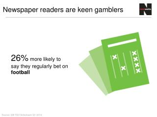 26%  more likely to say they regularly bet on  football