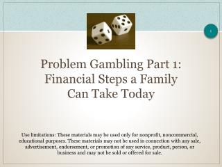 Problem Gambling Part 1:  Financial Steps a Family Can Take Today
