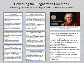 Governing the Binghamton Commons Rethinking Governance in our Region from a Scientific Perspective