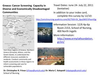Greece: Cancer Screening  Capacity in Diverse and Economically Disadvantaged Communities