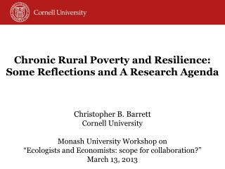 Chronic Rural Poverty and Resilience: Some Reflections and  A Research  Agenda