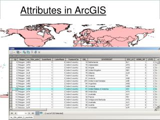 Attributes in ArcGIS