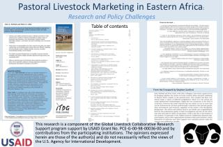 Pastoral Livestock Marketing in Eastern Africa :  Research and Policy Challenges