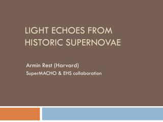Light Echoes from Historic Supernovae