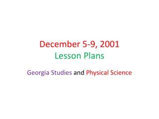 December 5-9, 2001 Lesson Plans