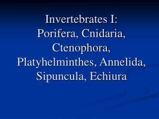 Invertebrates I: Porifera, Cnidaria, Ctenophora, Platyhelminthes, Annelida, Sipuncula, Echiura