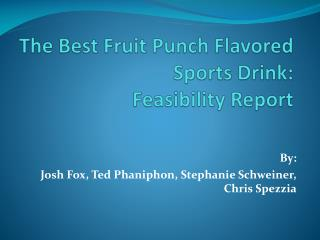 The Best Fruit Punch Flavored Sports Drink: Feasibility Report