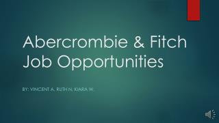 Abercrombie & Fitch Job Opportunities