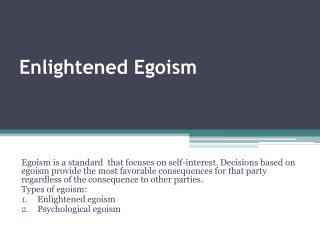 Enlightened Egoism