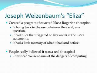 """Joseph Weizenbaum's """"Eliza"""""""