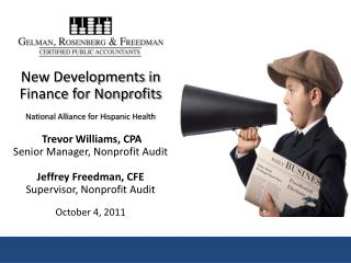 Trevor Williams, CPA Senior Audit Manager, Gelman, Rosenberg & Freedman CPAs
