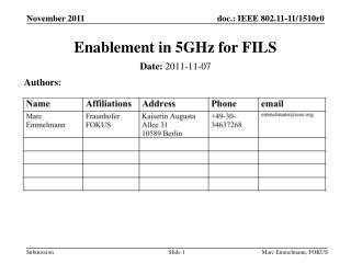 Enablement in 5GHz for FILS