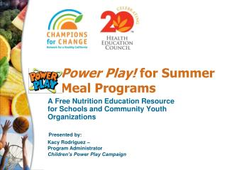 Power Play!  for Summer Meal Programs