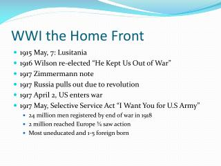 WWI the Home Front