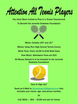 Attention All Tennis Players