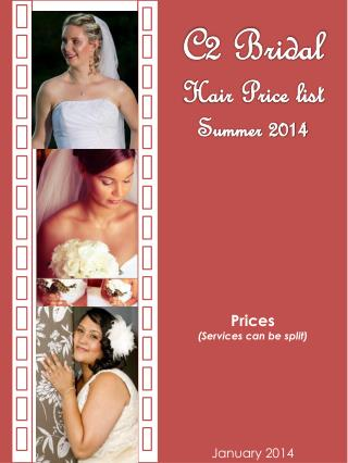 C2 Bridal  Hair Price list Summer  2014