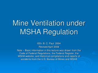 Mine Ventilation under MSHA Regulation