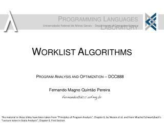 Worklist  Algorithms