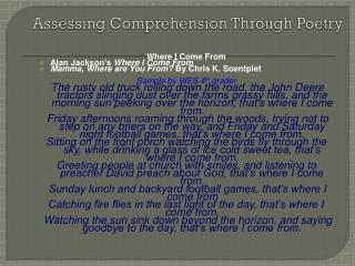 Assessing Comprehension Through Poetry