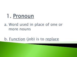 1.  Pronoun