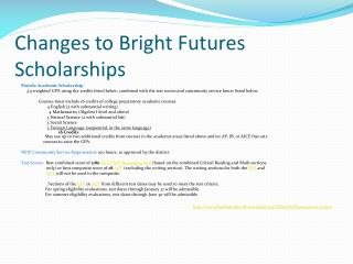 Changes to Bright Futures Scholarships