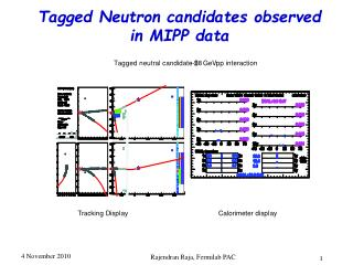 Tagged Neutron candidates observed in MIPP data