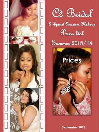 C2 Bridal  & Special Occasions Make-up  Price  list Summer  2013/14