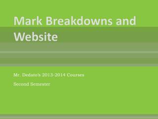 Mark Breakdowns and Website