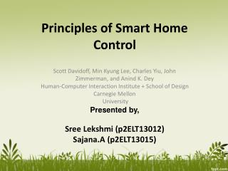 Principles of Smart Home Control