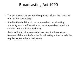 Broadcasting Act 1990