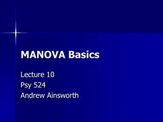 MANOVA Basics