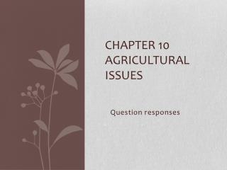 Chapter 10 Agricultural  Issues