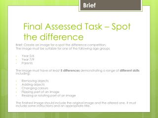 Final Assessed Task – Spot the difference