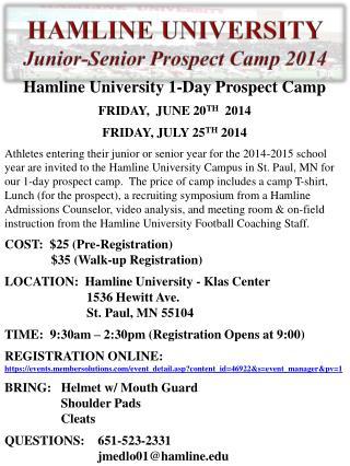 HAMLINE UNIVERSITY Junior-Senior Prospect Camp 2014